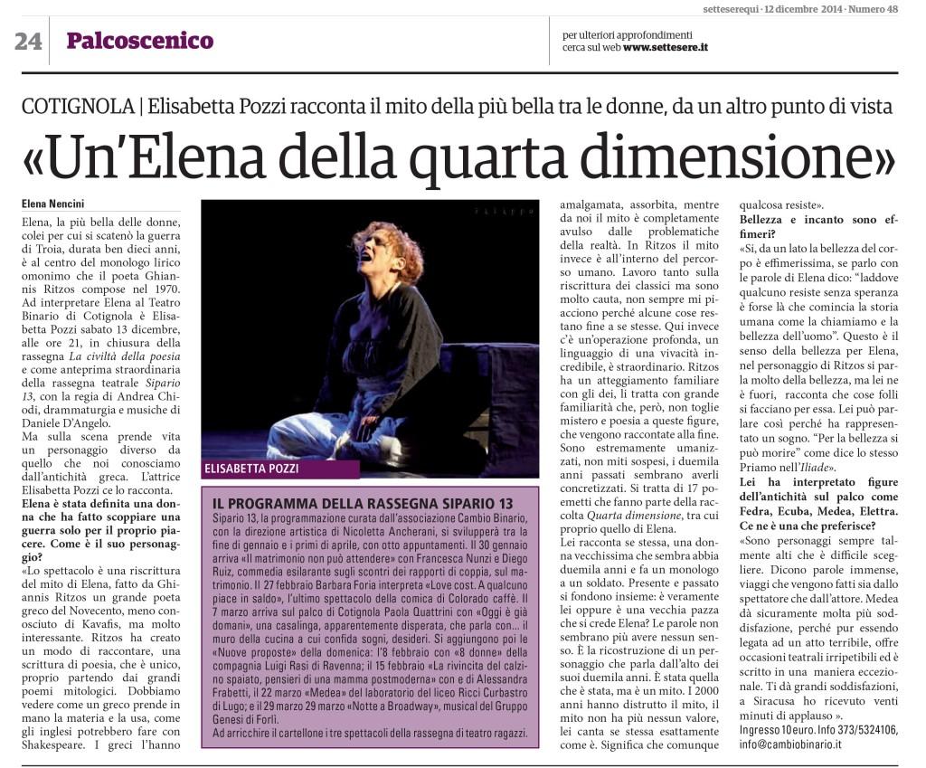 Sette sere, intervista Elisabetta Pozzi
